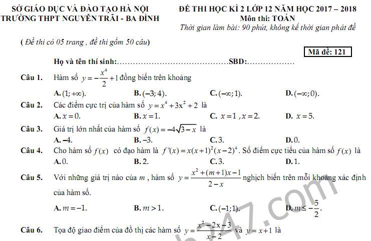 Đề thi học kì 2 môn Toán lớp 12 - THPT Nguyễn Trãi năm 2018