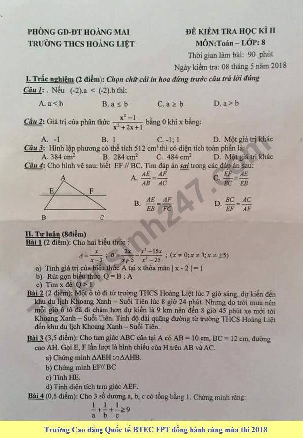 Đề thi học kì 2 môn Toán lớp 8 - THCS Hoàng Liệt năm 2018