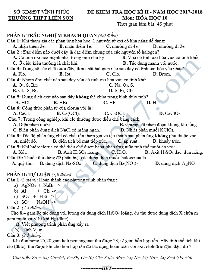 Đề thi học kì 2 lớp 10 môn Hóa 2018 - THPT Nguyễn Đình Chiểu