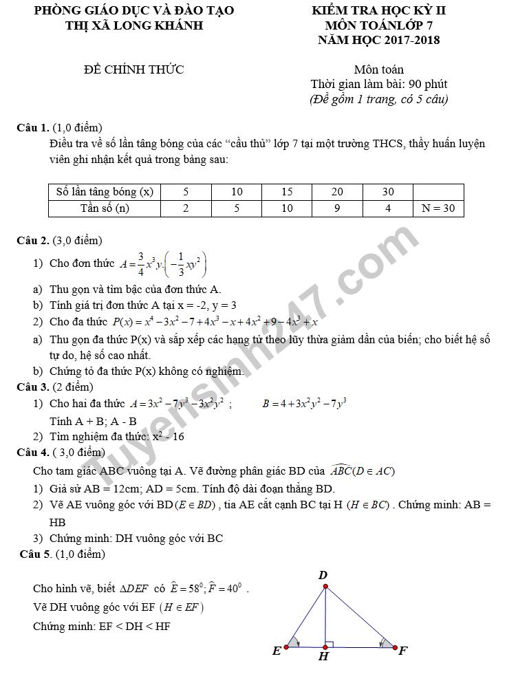 Đề thi học kì 2 lớp 7 môn Toán 2018 - Phòng GD&ĐT Thị xã Long Khánh