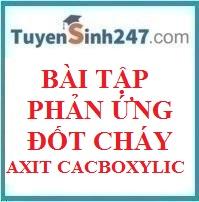 Bài tập phản ứng đốt cháy axit cacboxylic