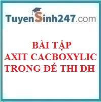 BTTN axit cacboxylic trong đề thi đại học