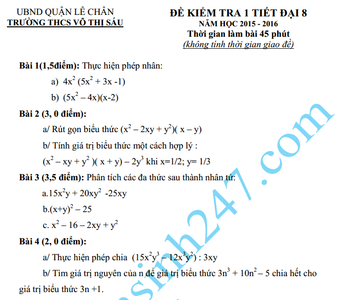 Đề kiểm tra 1 tiết HK2 môn Toán Đại số 8 năm 2015 – THCS Võ Thị Sáu