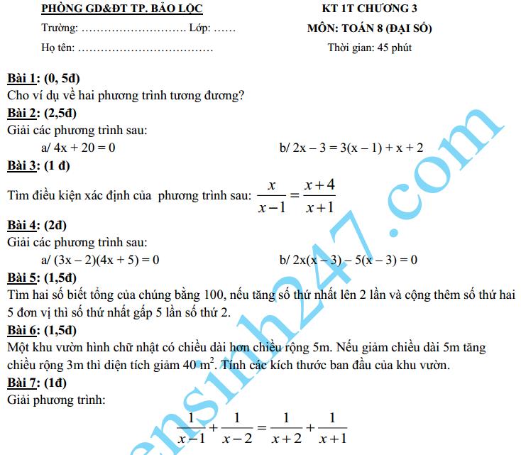 Đề kiểm tra 1 tiết môn Toán 2016 lớp 8 Đại số Chương 3 – THCS Bảo Lộc
