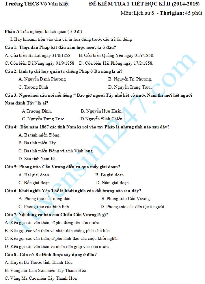 Đề kiểm tra 1 tiết HK2 môn Sử 8 năm 2015– THCS Võ Văn Kiệt