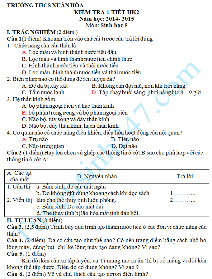 Đề kiểm tra 1 tiết HK2 môn Sinh 8 THCS Xuân Hòa năm 2015