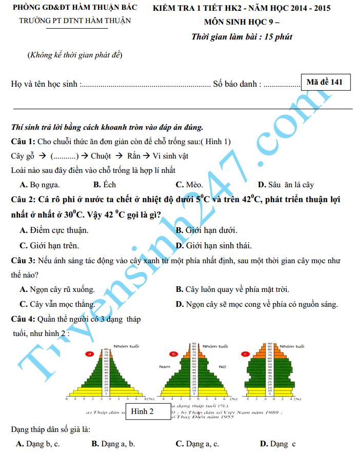 Đề kiểm tra 1 tiết HK2 2015 môn Sinh lớp 9 – THCS Hàm Chính