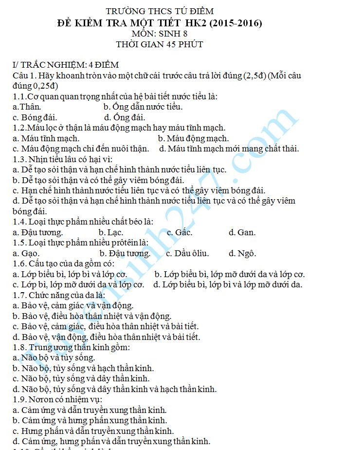 Đề kiểm tra 1 tiết HK2 môn Sinh 8 – THCS Tú Điềm 2016
