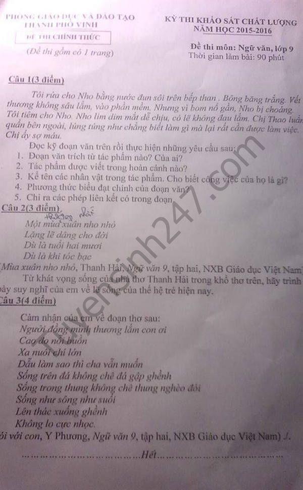 De thi thu vao lop 10 mon Van 2016 - TP Vinh