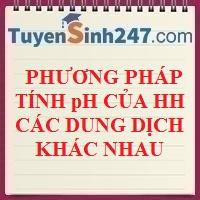 Phương pháp xác định pH của hỗn hợp các dung dịch khác nhau