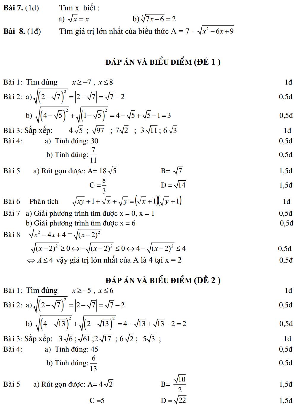 Đề kiểm tra chương 1 đại số 9 (có lời giải chi tiết)
