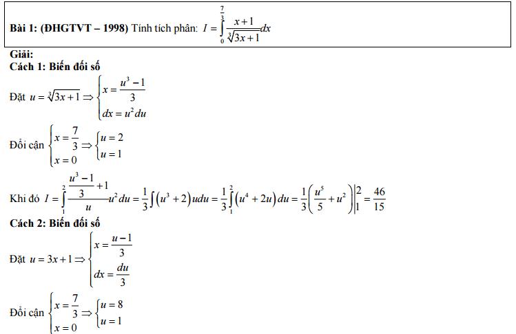 Giải bài toán tích phân bằng nhiều cách