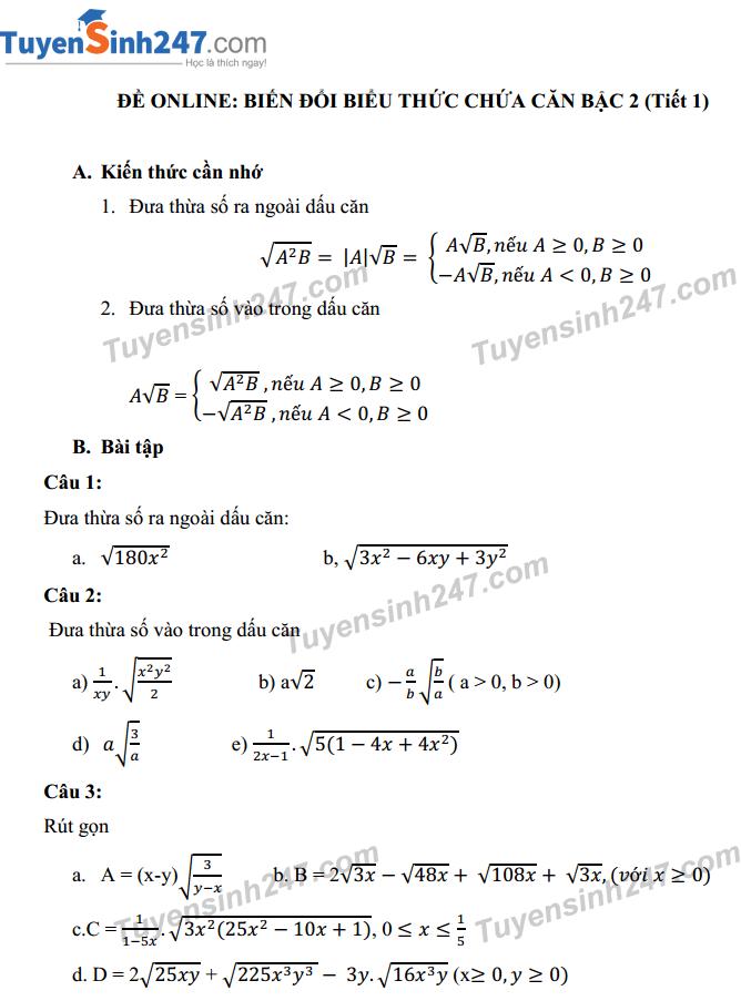 Thi online - biến đổi đơn giản biểu thức chứa căn bậc 2 (tiết 1)
