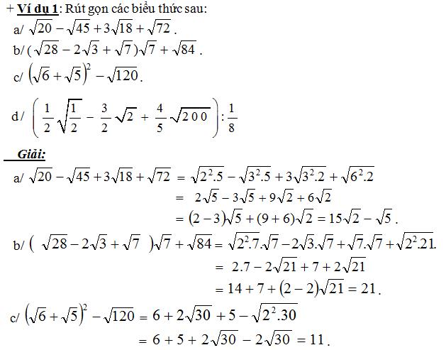 Rút gọn biểu thức chứa số, chứa biến và một số bài toán liên quan