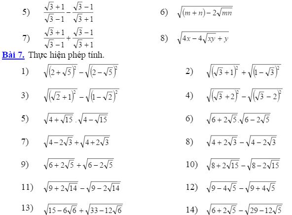 Tổng hợp những bài toán rút gọn biểu thức ôn vào 10 hay