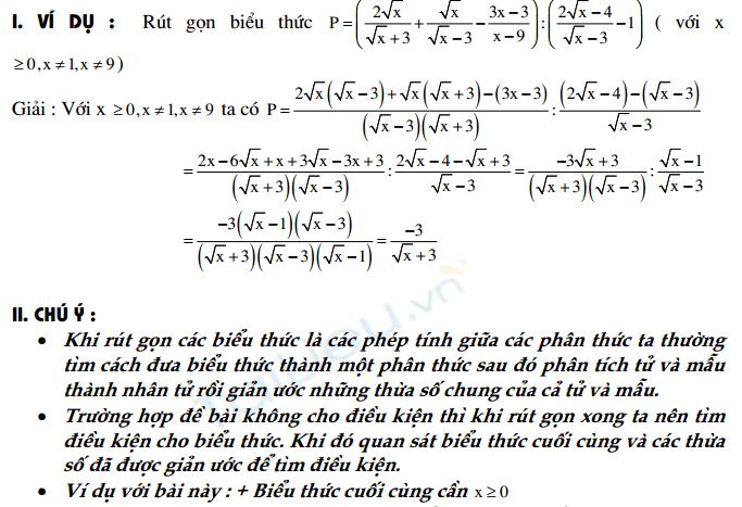 Các chú ý và lời giải cho một số bài toán cơ bản ôn thi vào 10 - phần 1