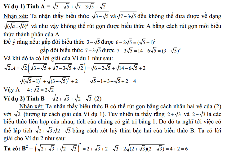 Một số vấn đề cần biết thêm về căn bậc 2 - cho học sinh muốn đạt điểm 8, 9, 10