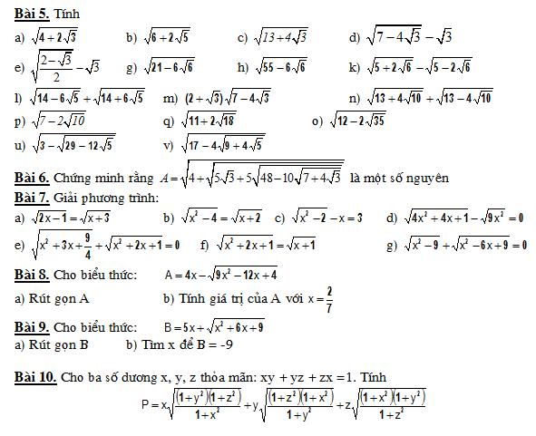 Căn bậc 2  - căn thức bậc 2