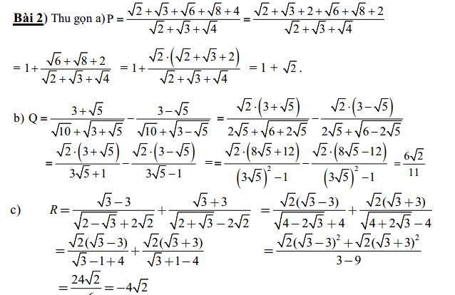 Các bài toán về biến đổi căn thức dành cho học sinh khá giỏi - có đáp án - rất hay