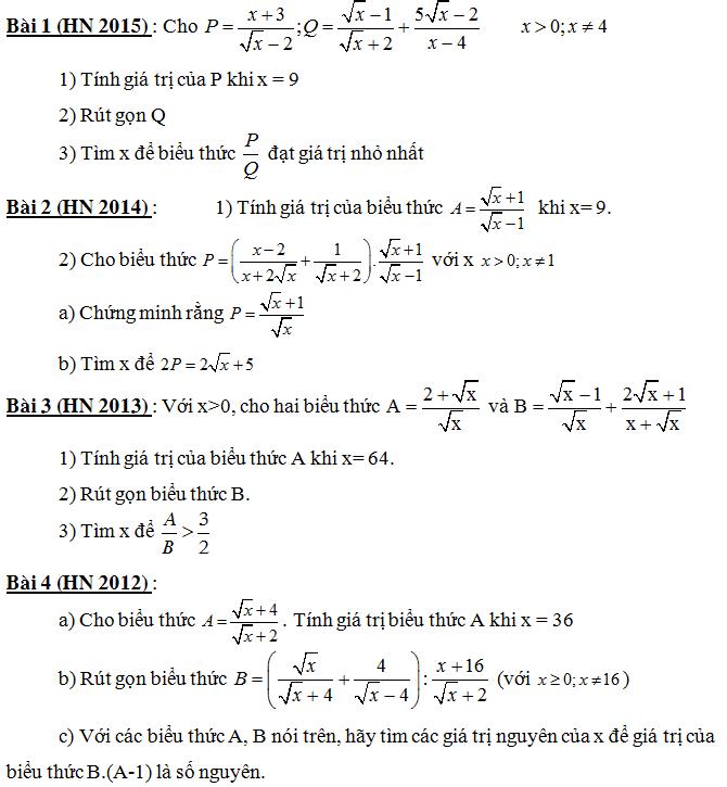 Các câu rút gọn biểu thức trong đề thi vào 10 môn Toán của Hà Nội từ năm 1992 - 2015