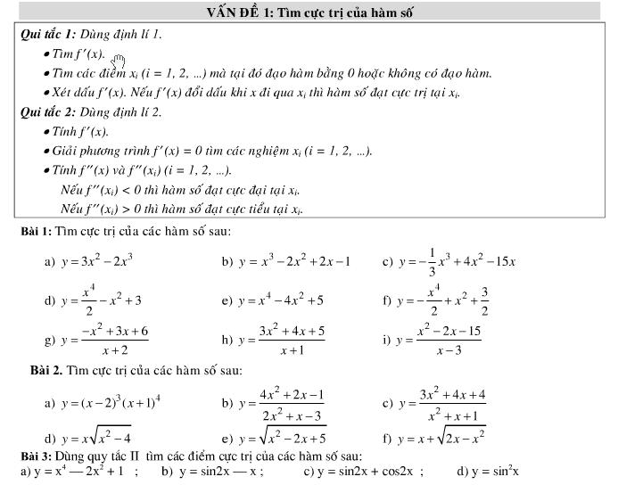 Tìm cực trị của hàm số và tìm tham số m để hàm số đạt cực trị thỏa mãn điều kiện cho trước