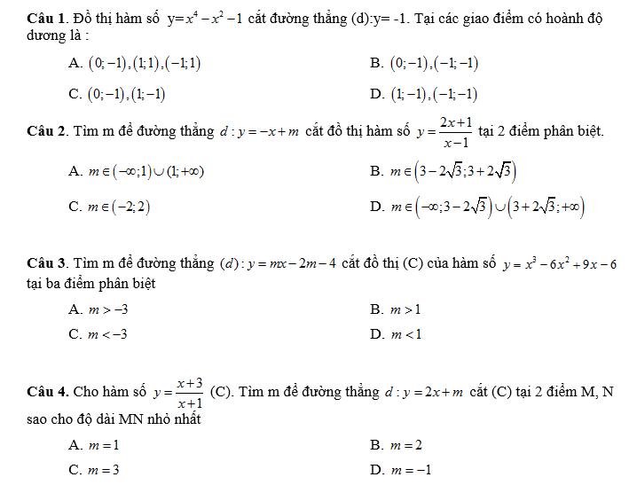 1515 bài toán trắc nghiệm lớp 12 rất hay và quan trọng