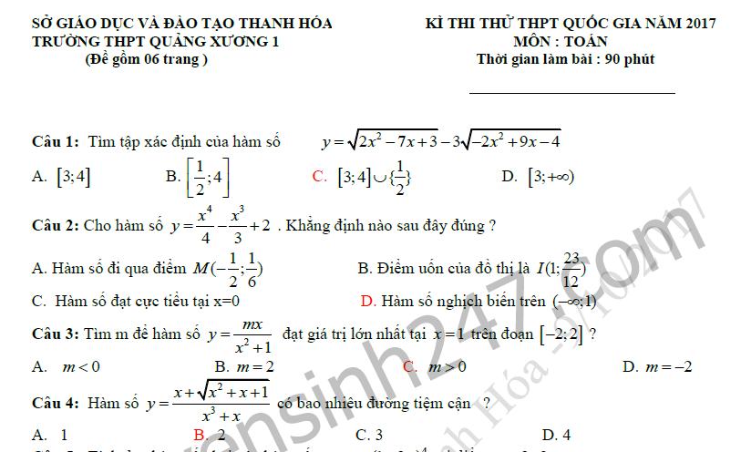 Đề thi thử THPTQG 2017 môn Toán - THPT Quảng Xương 1 ( có đáp án)