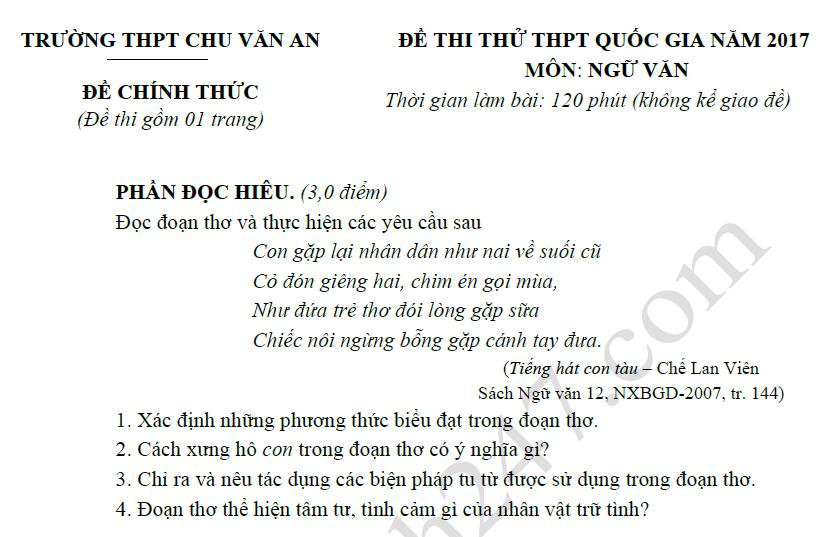 Đề thi thử THPTQG môn Ngữ Văn - THPT Chu Văn An 2017