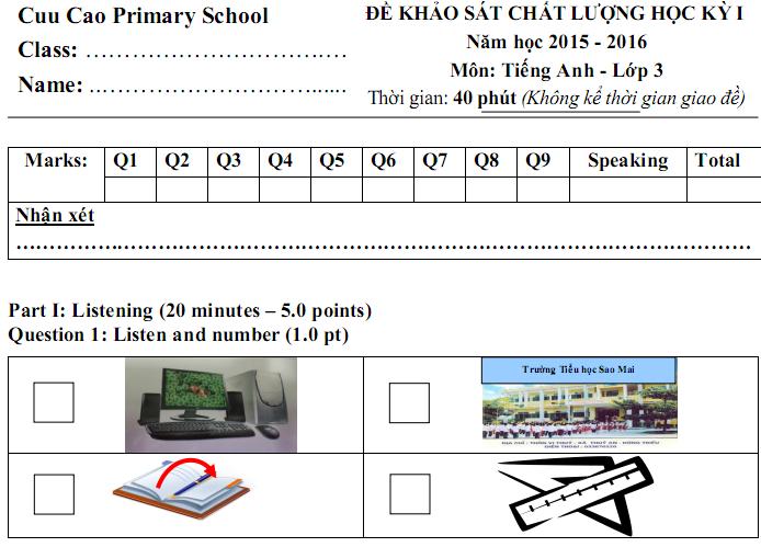 Đề thi học kì 1 lớp 3 môn tiếng Anh 2015 - tiểu học Cửu Cao