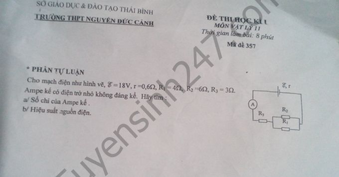 Đề thi học kì 1 lớp 11 môn Lý  - THPT Nguyễn Đức Cảnh 2016 - 2017