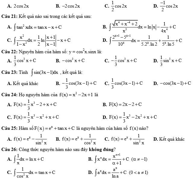 99 câu trắc nghiệm nguyên hàm hay (có đáp án)