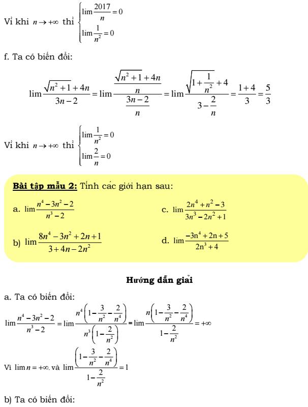 Bài tập giới hạn dãy số - có lời giải chi tiết