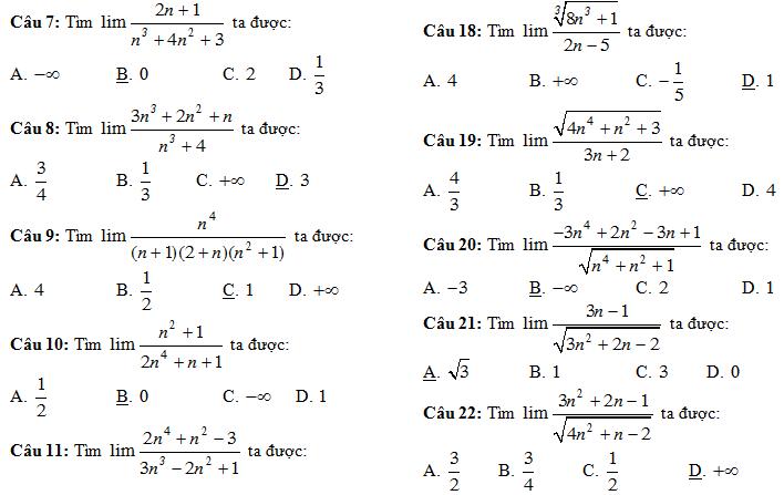 Trắc nghiệm giới hạn của dãy số (có đáp án)