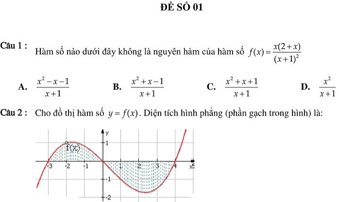 Bộ đề ôn tập trắc nghiệm chương Nguyên hàm, tích phân và ứng dụng (có đáp án)