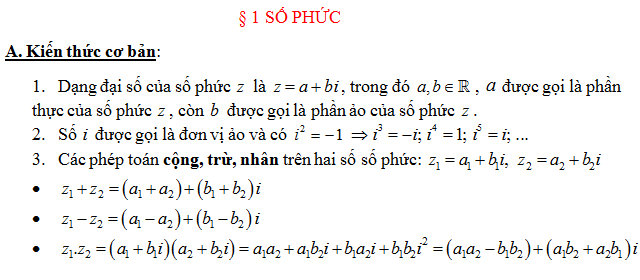Trắc nghiệm- Các phép toán cộng, trừ, nhân, chia, số phức liên hợp (có đáp án)