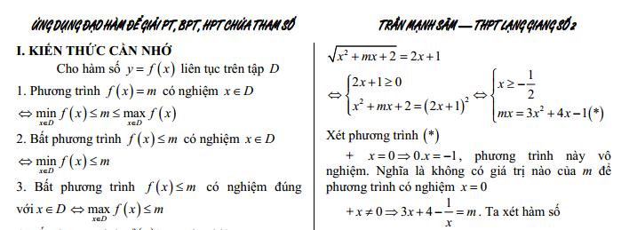 Ứng dụng đạo hàm để giải Phương trình; Bất phương trình; Hệ phương trình chứa tham số