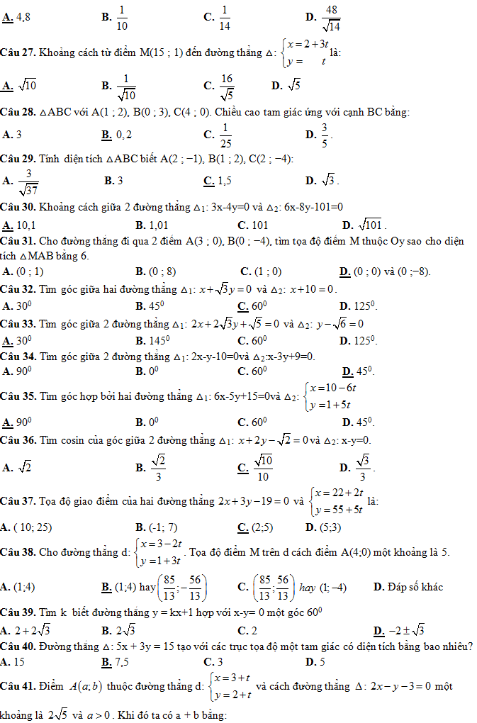 Trắc nghiệm Phương trình đường thẳng trong mp Oxy (có đáp án)