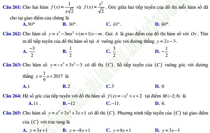 520 bài tập trắc nghiệm đạo hàm có lời giải chi tiết