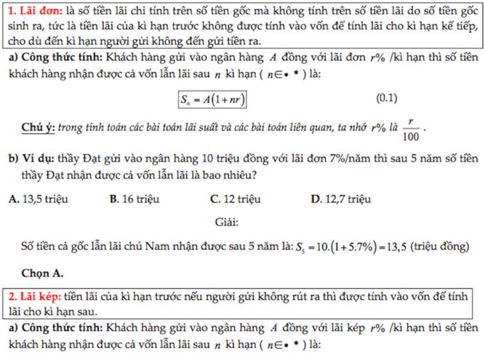 7 công thức chinh phục dạng toán lãi suất trong đề thi THPT quốc gia