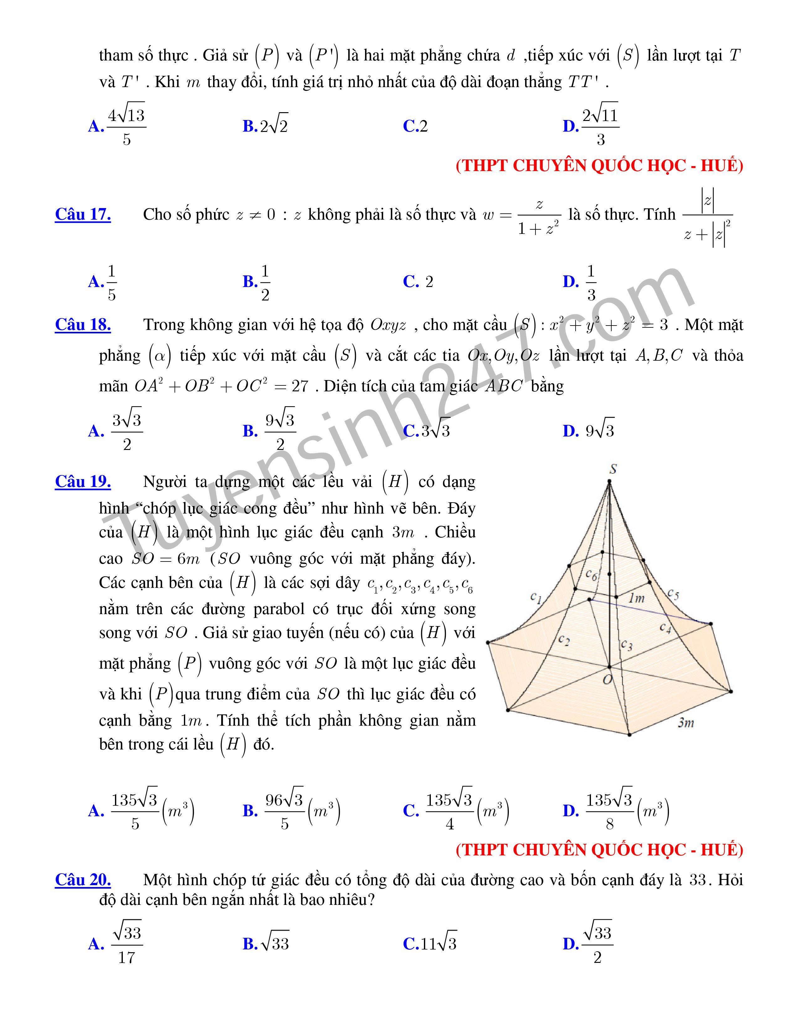 152 câu hỏi  trắc nghiệm vận dụng cao trong các đề thi thử THPT QG (có đáp án)
