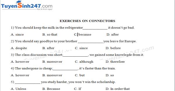 Bài tập về từ nối trong tiếng Anh [ Linking words - Connectors]