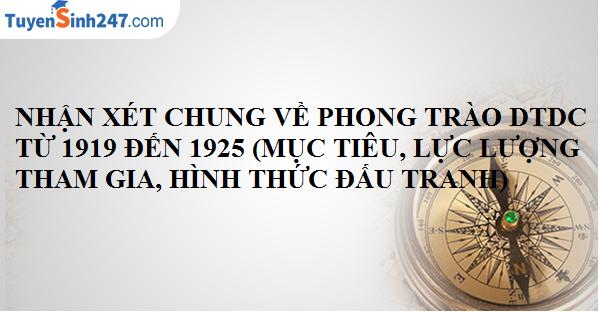 Nhận xét chung về phong trào dân tộc dân chủ ở Việt Nam từ 1919 đến 1925 (Mục tiêu lực lượng tham gia, hình thức đấu tranh)