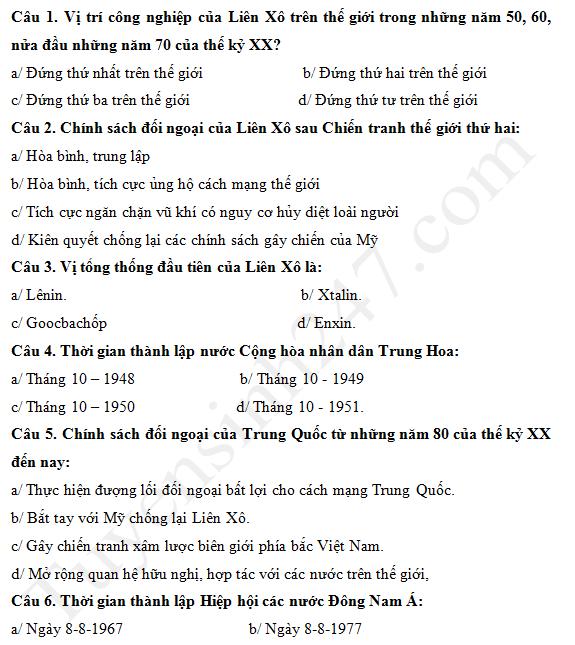 Đề thi giữa kì 1 lớp 12 môn Sử năm 2017 THPT Nguyễn Du