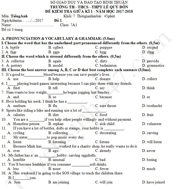 Đề thi giữa kì 1 lớp 7 môn Anh - THCS Lê Quý Đôn 2017