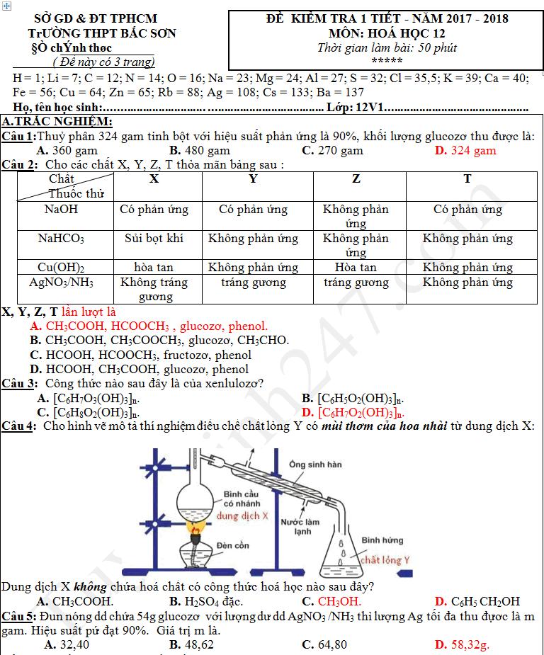 Đề thi giữa kì 1 lớp 12 môn Hóa - THPT Bắc Sơn năm 2017