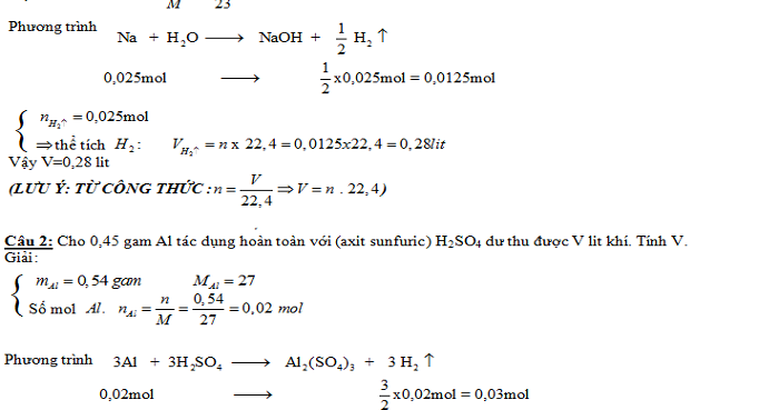 Bài tập áp dụng công thức n = V / 22,4 (có lời giải chi tiết)