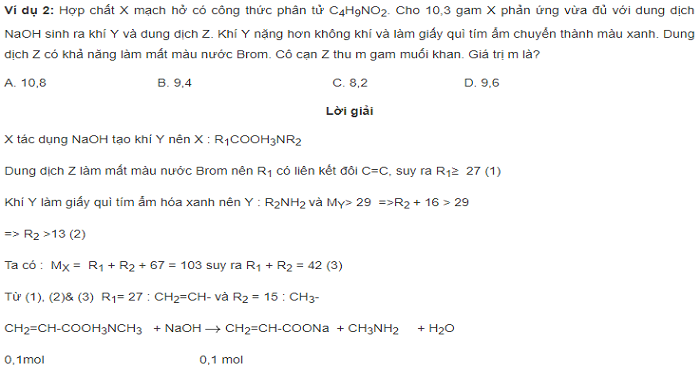 Bài tập dẫn xuất amino axit