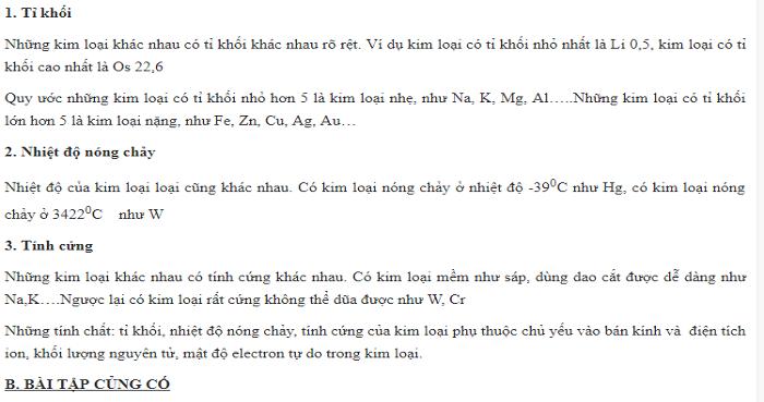 Tính chất vật lý của kim loại