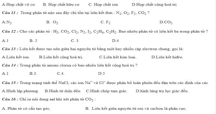 BTTN tổng hợp liên kết hóa học