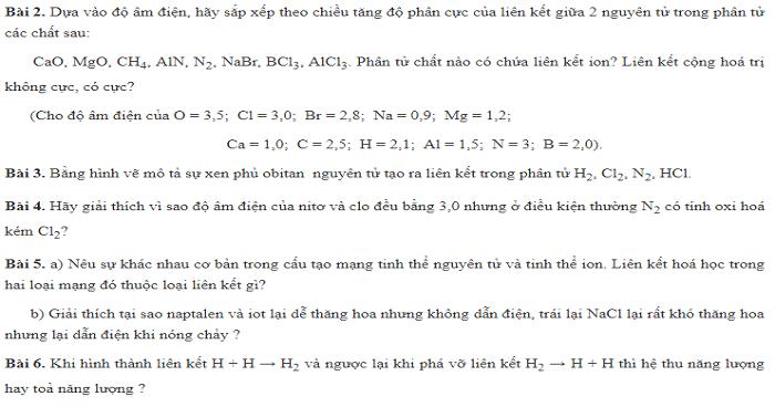 Bài tập liên kết hóa học (Có lời giải chi tiết)